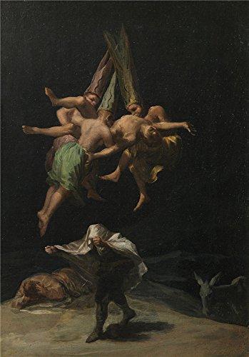 Oil painting ` Goya Y Lucientes Francisco De Vuelo de brujas 1797`印刷ポリエステルキャンバスに、30x 43インチ/ 76x 109cm、The Best廊下ギャラリーアートとホームデコレーションとギフトはこの模造品アート装飾キャンバスの商品画像