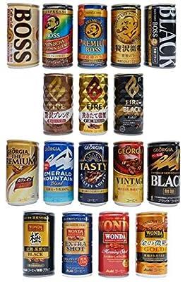 Japanese Popular Canned Coffee Random Variety Assortment 6 Cans Set/BOSS FIRE GEORGIA WONDA/Black,Cafe Au Lait, Trace-Sugar etc