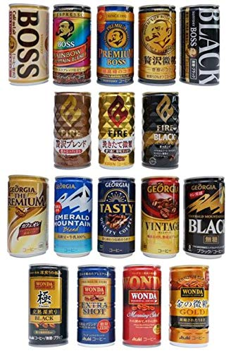 Japanese Popular Canned Coffee Random Variety Assortment 6 Cans Set / BOSS FIRE GEORGIA WONDA / Black,Cafe Au Lait, Trace-Sugar etc