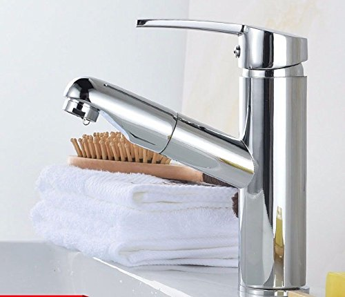 AWXJX Sink Taps Pull out copper Wash your facePots Hot and cold chrome redating Seated bathroom