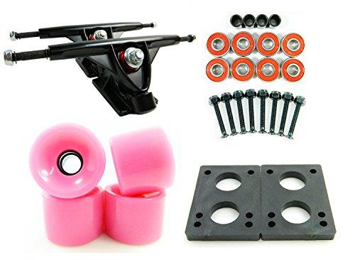 180mm Black Longboard Trucks + 70mm Pink Wheels
