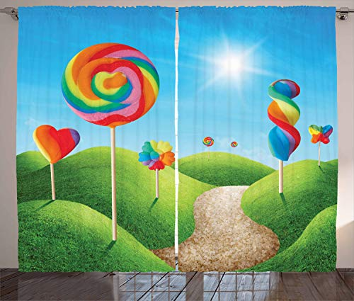 """Ambesonne Fantasy Curtains, Fantasy Candy Land with Delicious Lollipops and Sweets Sun Cheerful Fun Print, Living Room Bedroom Window Drapes 2 Panel Set, 108"""" X 90"""", Rainbow Colors"""