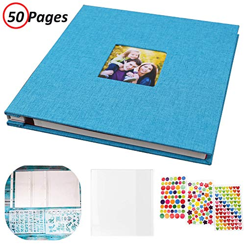 Photo Album Self Adhesive, Linen Hardcover 50 Sticky Pages Scrapbook Album, Memory Book for Wedding/Family, Dust-Free/Glue-Free Photo Album Holds and Protect 3X5, 4X6, 5X7, 6X8, 8X10, Photos (Blue)