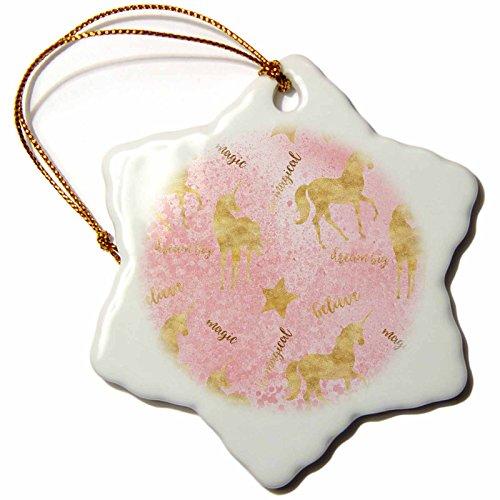 3dRose PS Animals - Image of Gold Believe Magical Inspirational Pink Blush Glitz Unicorns - 3 inch Snowflake Porcelain Ornament (Believe Porcelain)