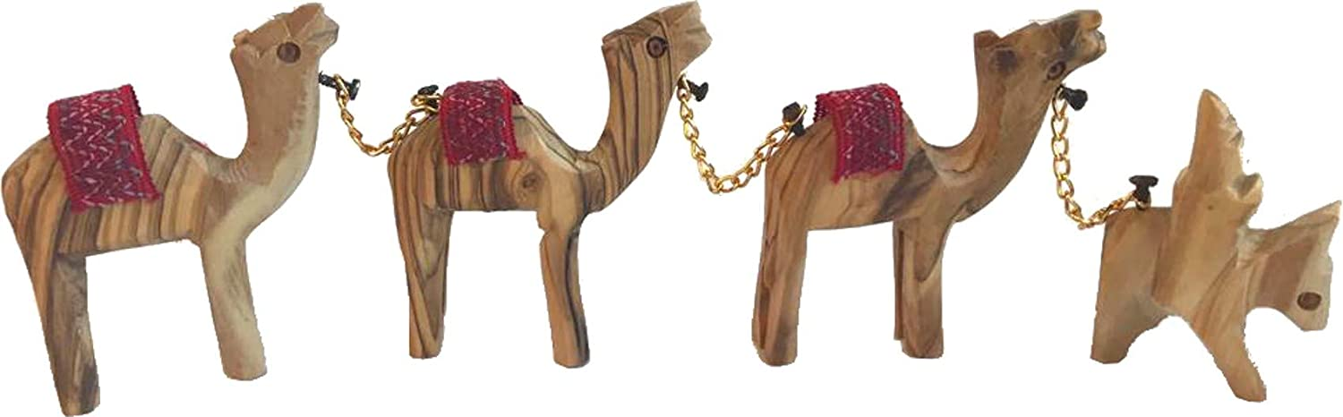 Camel Statue Wood Carved Set of 3 With Mosaic Inlay On The Neck by Zenda Imports