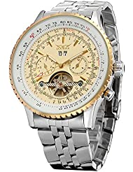 Forsining Mens Self winding Automatic Tourbillon Calendar Watch with Link Bracelet JAG034M4T1