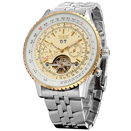 Forsining Mens Self winding Automatic Tourbillon Calendar Watch with Link Bracelet JAG034M4T1