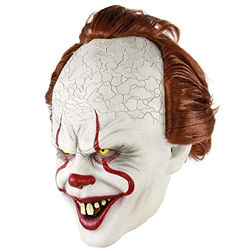 IT Pennywise Halloween Clown Mask 2019 Stephen King Movie Adult Horror Joker Full Face Costume Party Prop and Red -