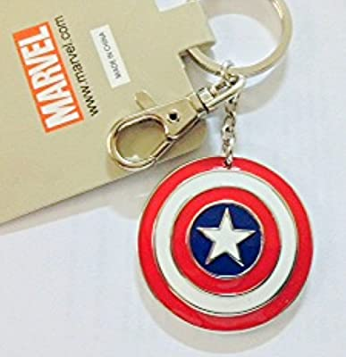 Captain America Nautical Star Blue Red & White Key Ring Key Chain.