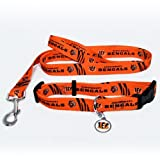 Cincinnati Bengals Pet Set Dog Leash Collar ID Tag LARGE