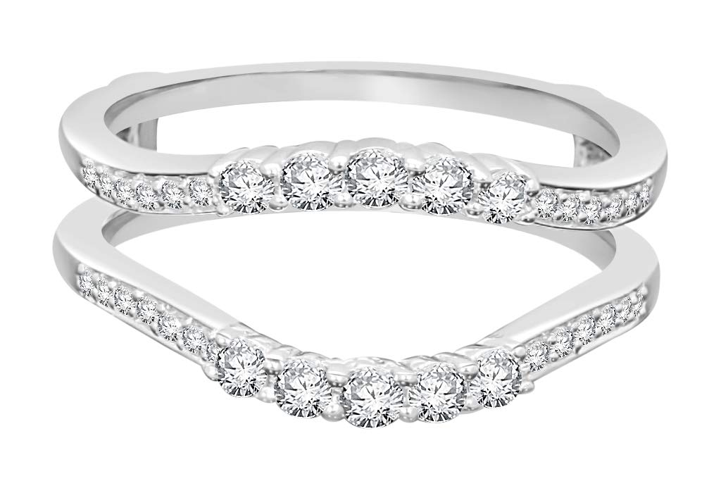 10k White Gold Real Diamond Solitaire Enhancer Rings (0.52cttw, H-I Color, SI2-I1) by Wholesale Diamonds