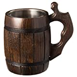 Handmade Beer Mug Oak Wood Dark Natural Eco Friendly Gift Barrel Cup