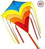Kite for Kids /Huge Rainbow Kite Easy Flyer and Assemble, Single Line and Long Tail Ribbons,Best Kites for the Beach, the Best Toy for Kids and Adults