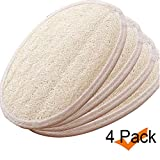 Exfoliating Loofah Sponge Pads (Pack of 4) - 100% Natural Luffa and Terry Cloth Materials Loofa Sponge Scrubber Body Glove - Men and Women (oval)