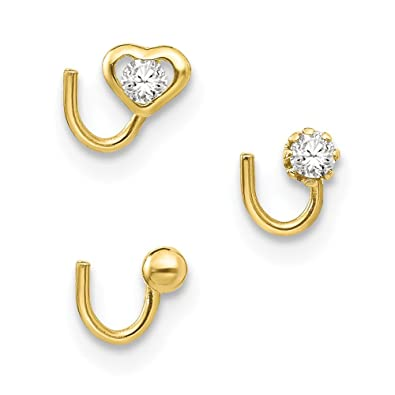 Jewelry 10k Yellow Gold Cubic Zirconia Nose Screw Stud Nose Ring