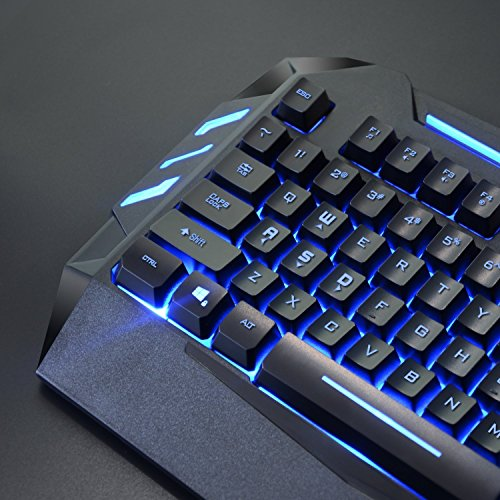 51NB0k9E6qL - Rii RK900 7 Colors Rainbow LED Backlit Mechanical Feeling USB Wired Multimedia Gaming Keyboard