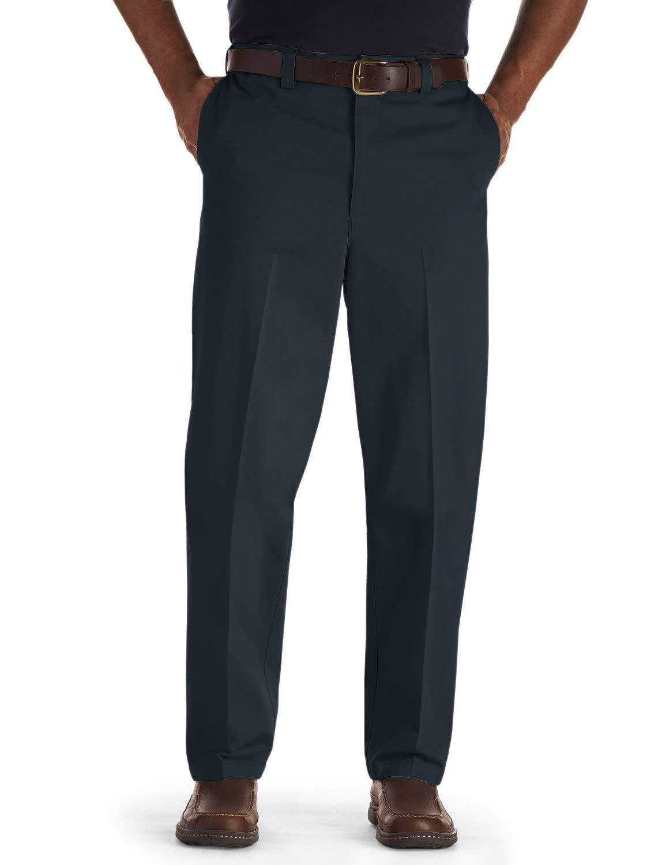 Oak Hill by DXL Big and Tall Flat-Front Premium Stretch Twill Pants, Navy, 58 X 30, Regular Rise
