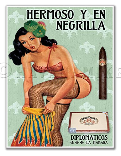 La HABANA HERMOSO Cuban Cigar Vintage-Style PINUP GIRL Art Poster Travel Print - measures 24
