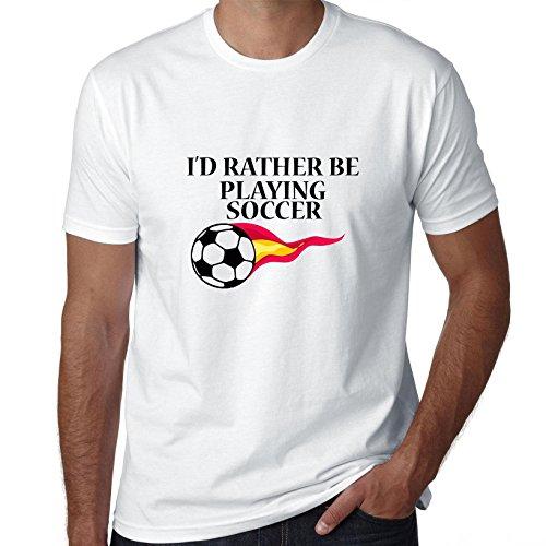 I'd Rather Be Playing Soccer - Flaming Soccer Ball Men's - Soccer Ball Flaming T-shirt