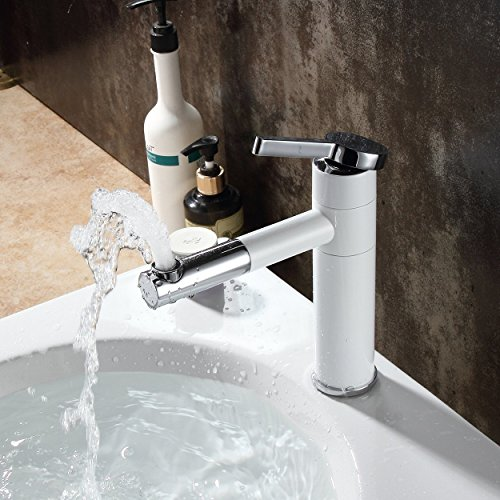 Fapully Single Handle One Hole Bathroom Sink Faucet with Rotating Spout,7.7 inch White&Chrome Basin Mixer (Basin White Single Hole)