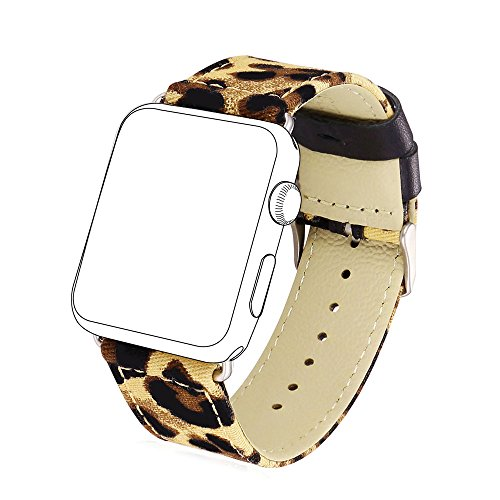 Price comparison product image Fabric Replacement Strap for Apple Watch,  Bandmax Stainless Steel Metal Clasp Buckle Comfortable Denim Fabric Watch Band for Apple Watch Series 3 / 2 / 1(Leopard Pattern 42MM)