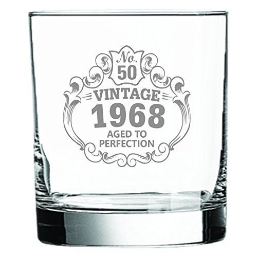 Whiskey Glass 50th Birthday Vintage 1968 Aged to Perfection Engraved • 11oz Rocks Glass • Great Gift for Father • Grandfather • Husband • Son • Friend by Laser Etchpressions