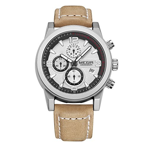 Megir Mens Quartz Analog Watch Genuine Leather Strap Chronograph Watches With Sub Dial Waterproof Business Dress Watches