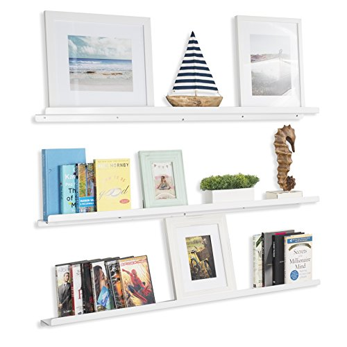 Wallniture Floating Shelves Nursery Metal Bookcase Display Aluminium Ledges White 46 Inch Set of 3 by Wallniture