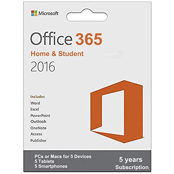 Amazon com: Microsoft Office 365 Home & Student Pro 5 Years