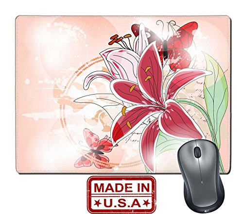 """Liili Natural Rubber Mouse Pad/Mat with Stitched Edges 9.8"""" x 7.9"""" IMAGE ID: 11943657 Spring artistic background with big lily"""