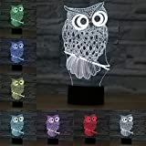 3D LED Optical Illusion Lamps Night Light, LSMY 7 Colors Touch Art Sculpture Lights with USB Cables Bedroom Desk Table Decoration Lamp for Kids Adults, Animal Owl