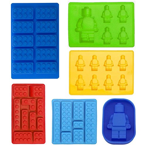 Robot Ice Cube Tray Silicone Mold, Candy Moulds, Chocolate Moulds, For Kids Party's and Baking Minifigure Building Block Themes, Set of 6 pcs by Flytoo