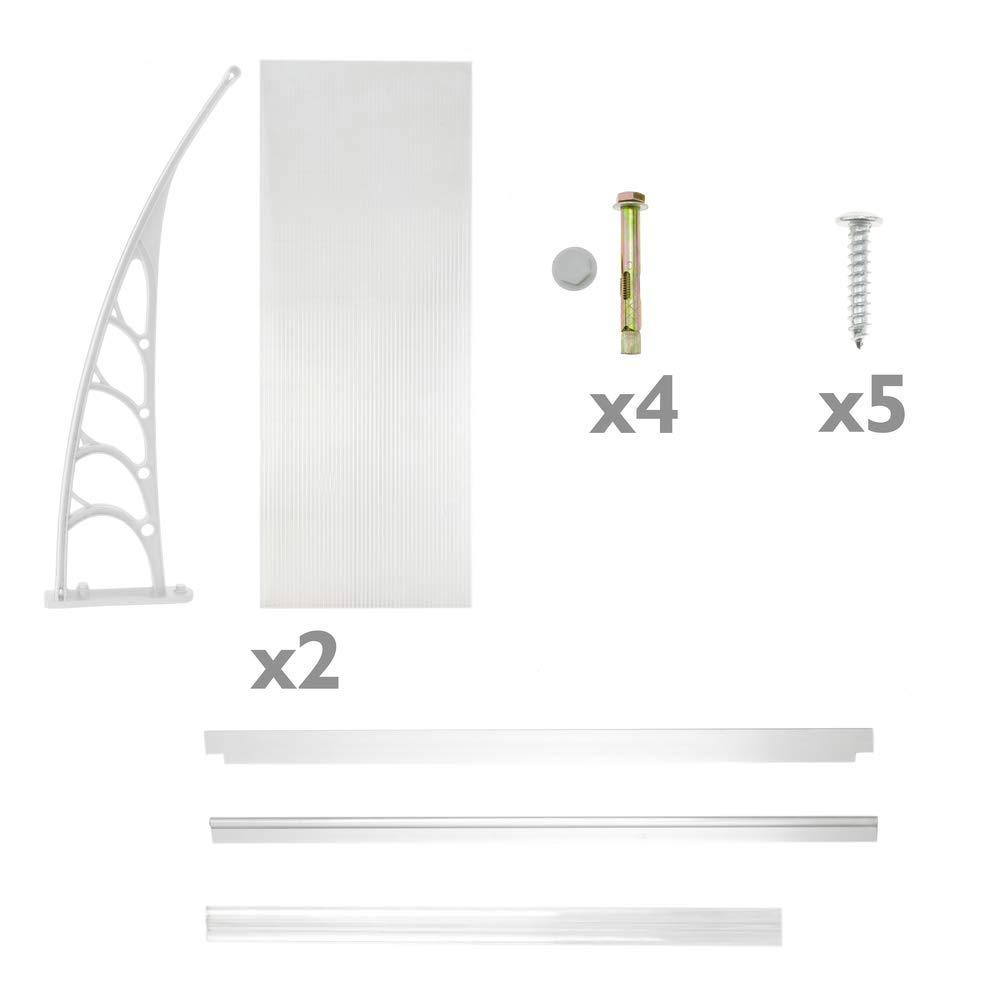 Tejadillo de protecci/ón 150x90 cm Transparente PrimeMatik Marquesina para Puertas y Ventanas con Soporte Blanco