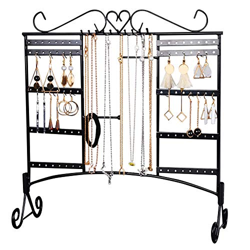 Earring Jewelry Display Holder (Jewelry Organizer Earring Holder Jewelry Display Necklace Large Capacity with Removable Foot Bracelets Holder Wall Stand Rack (Black))