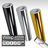 VViViD Chrome Multi-Color Gloss DECO65 Permanent Adhesive Craft Vinyl 1ft x 5ft Roll Bundle for Cricut, Silhouette & Cameo Including 12'' x 24'' Roll of Clear Transfer Paper (3 Color Pack)