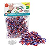 Loom Rubber Bands - 300 Pc Triple Color Rubber Band Refill Pack (Red, White, Blue) - 100% Latex Free and Compatible with All Looms