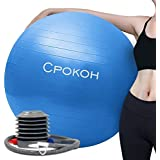 CPOKOH Exercise Ball,Anti Burst and Slip Resistant Yoga Ball,Swiss Ball,Fitness Ball,Ab Exercise Ball,Gym Ball,Workout Ball,Body Balance Ball, with Foot Pump