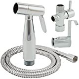 ShowerMaxx |Cloth Diaper Sprayer - Adjustable Handheld Toilet Bidet Water Cleaner -NEW & IMPROVED NO LEAKAGE Stainless Steel Hose, T-Valve, Tank/Wall Mount - Brass Metal with Polished Chrome Finish