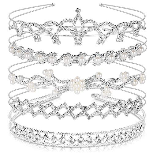 Crystal Headband Set of 5, Teenitor Jewelry Rhinestone Women Girl Hair Style Accessories Wedding Party Tiara Headdress- Silver
