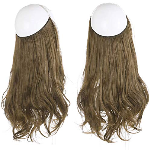 SARLA Short Wavy Brown Synthetic Halo Hair Extension