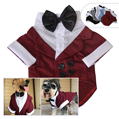 lovelonglong Pet Costume Dog Suit Formal Tuxedo with Black Bow Tie for Small Medium Large Size Dogs Cats 5 Colors (L-L, Reddish Brown)