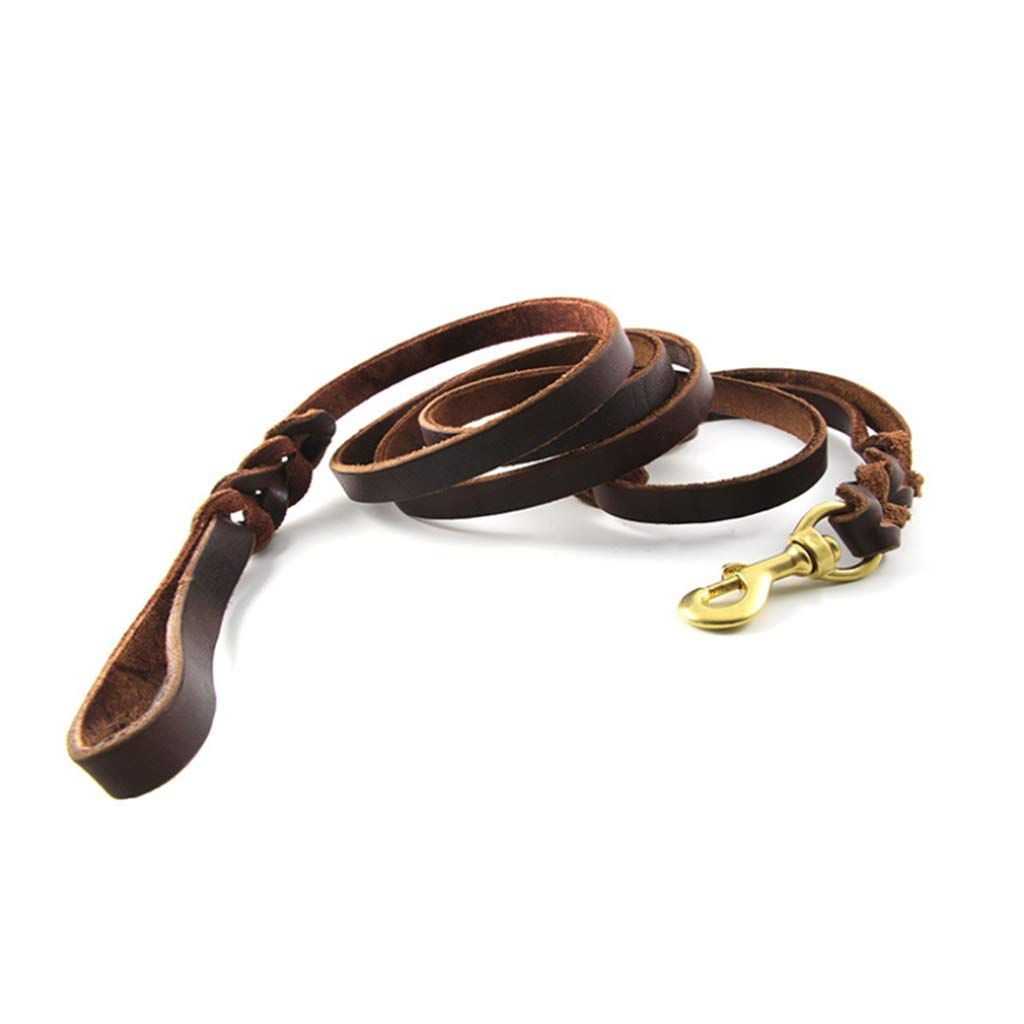 Double Handle Pure PU Dog Leash Large Medium Explosion-Proof Rushing Traction Rope Universal Metal Pendant