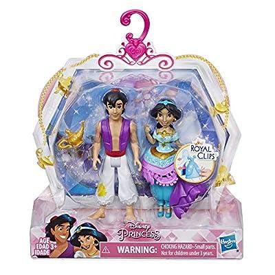 Disney Princess Jasmine & Aladdin, 2 Dolls, Royal Clips Fashion, One-Clip Skirt: Toys & Games