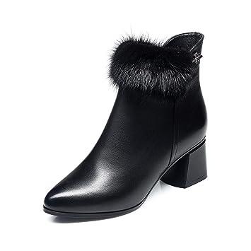3e5f1dede464c9 YIWU Petit Talon Bottines Femme Hiver 2019 Nouveau Style Talon Moyen Pointu  Bottes Martin Épais Talon