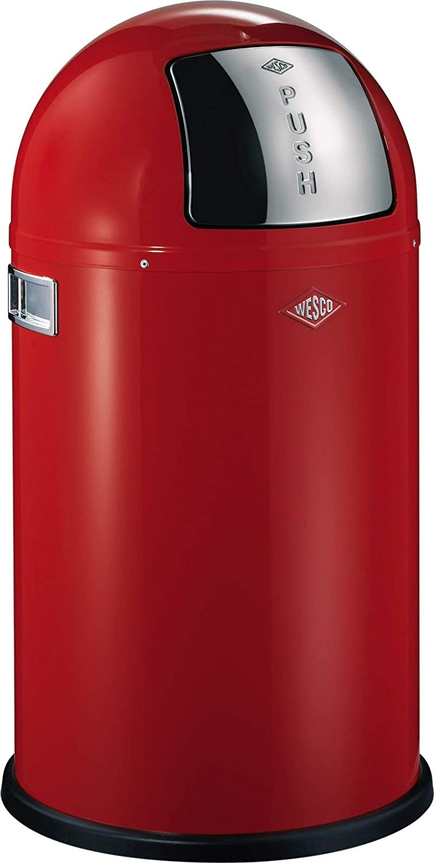 Wesco Pushboy Chroom.Wesco Pushboy Junior German Made Push Door Trash Can Powder Coated Steel 5 8 Gallon 21 L Red