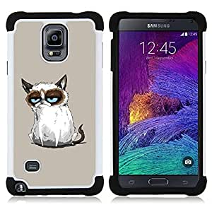 - Funny Mad Angry Cat Painting - - Doble capa caja de la armadura Defender FOR Samsung Galaxy Note 4 SM-N910 N910 RetroCandy