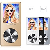 MYMAHDI 8GB Portable MP3 Player(Expandable Up to 128GB), Music Player/ One-key Voice Recorder/ FM Radio 70 hours playback with external speaker HD Headphone, Gold