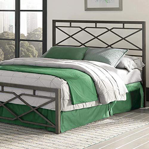 eLuxurySupply Metal Bed Frame - Geometric Style Platform Metal Bed Frame Foundation - Snap Bed Design - Folding Frame, Rustic Pewter Finish - Queen