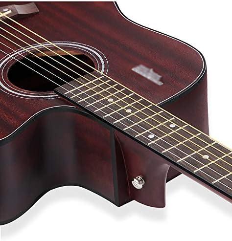 QYZS ギター 41インチボーイズ/ガールズ/中学生のためのアコースティックギター、レトロなアコースティックギター、初心者の学生のオスとメスのエントリギター楽器、 (Color : Brown)