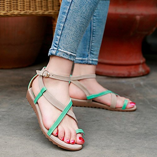 Summer apricot Flat Strap TAOFFEN Strappy Buckle Ankle Comfort Women Sandals aR0qgP